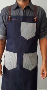 סינר ג'ינס עם כיסים מעוטרים