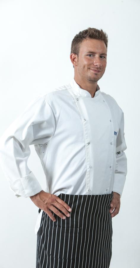 ז'קט שף תיק תק לאורך כפול וסינר צרפתי פסים